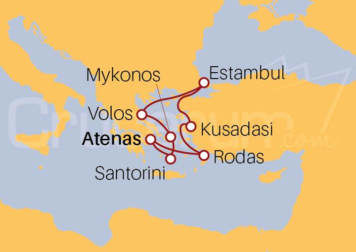 Itinerario Crucero Islas Griegas con Turquía desde Pireo