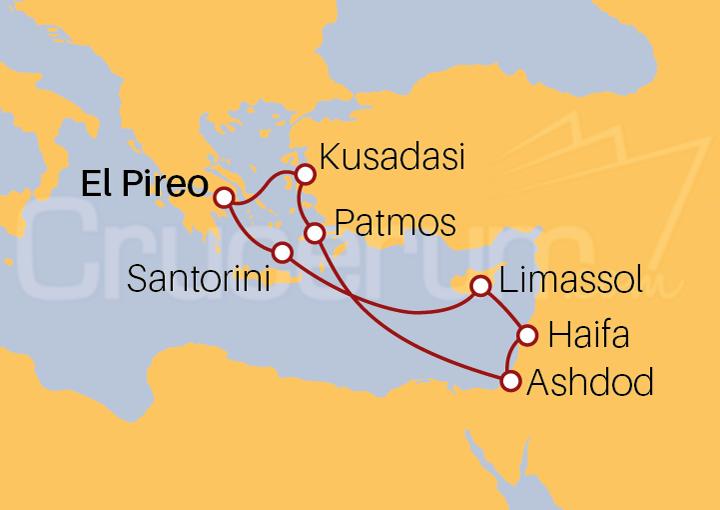 Itinerario Crucero Israel, Turquía y Grecia con Santorini