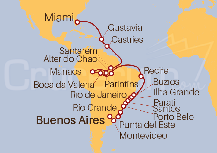 Itinerario Crucero Ritmos Latinos desde Buenos Aires