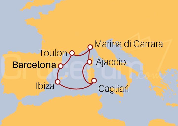 Itinerario Crucero Mediterráneo Irresistible desde Barcelona