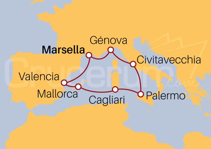Itinerario Crucero Mediterráneo desde Marsella