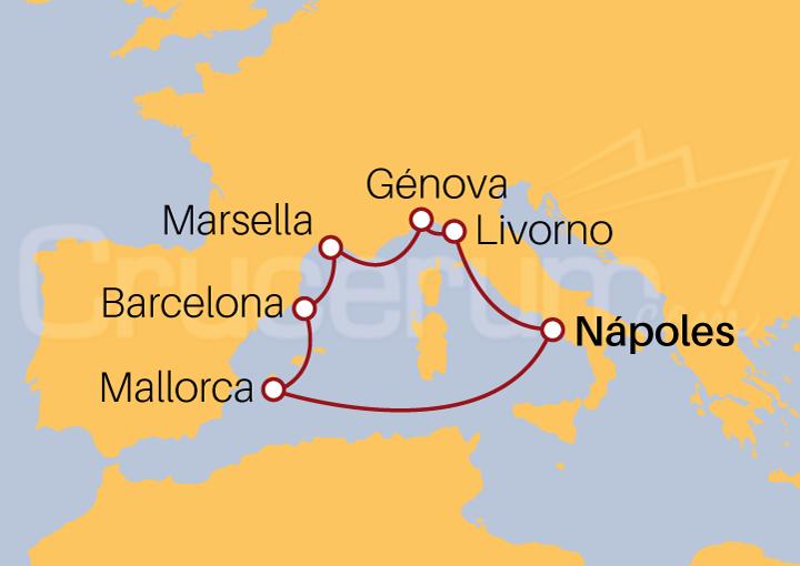 Itinerario Crucero Mediterráneo desde Nápoles