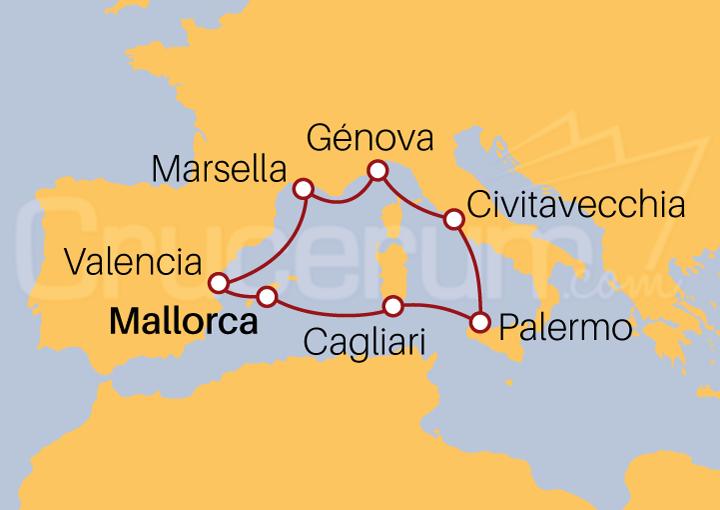 Itinerario Crucero Mediterráneo desde Mallorca