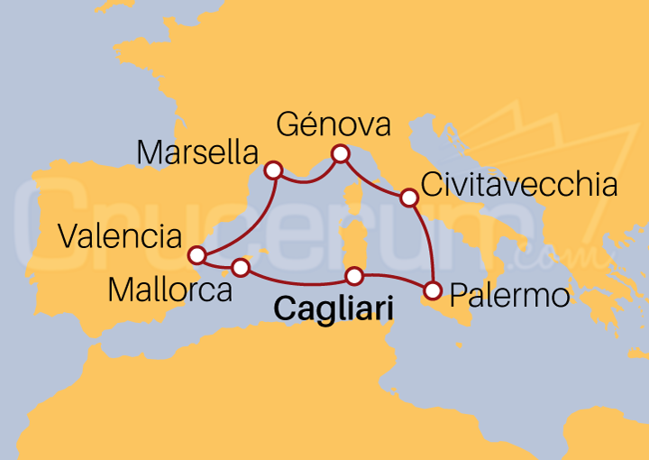 Itinerario Crucero Mediterráneo desde Cagliari