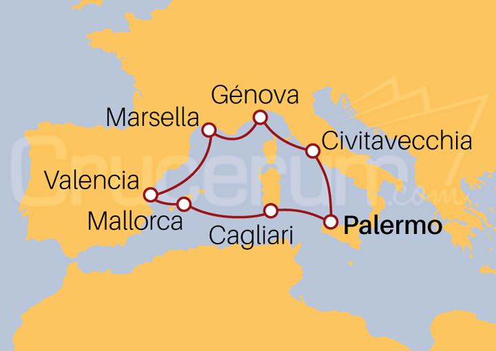 Itinerario Crucero Mediterráneo desde Palermo