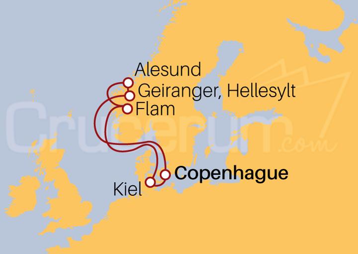 Itinerario Crucero Fiordos Noruegos desde Copenhague