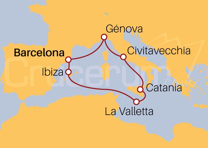 Itinerario Crucero España, Islas Baleares, Malta, Italia
