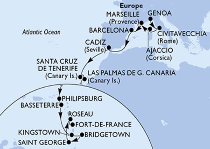 Itinerario Crucero Transatlántico de Génova a  Fort de France 2021