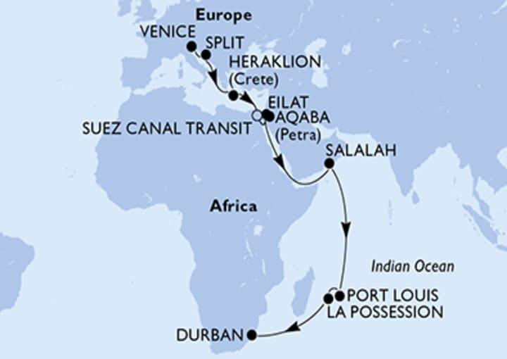 Itinerario Crucero De Venecia a Durban (Sudáfrica)
