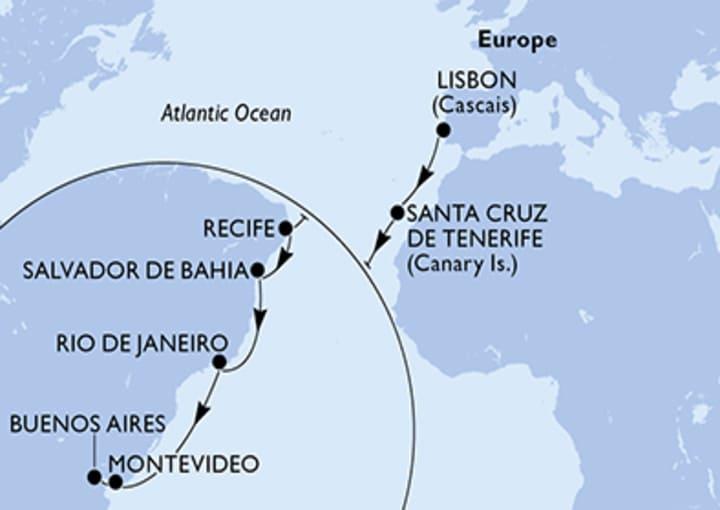 Itinerario Crucero Transatlántico de Lisboa a Buenos Aires 2021