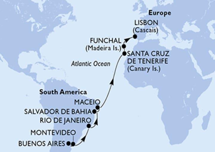 Itinerario Crucero Transatlántico de Buenos Aires a Lisboa  2022
